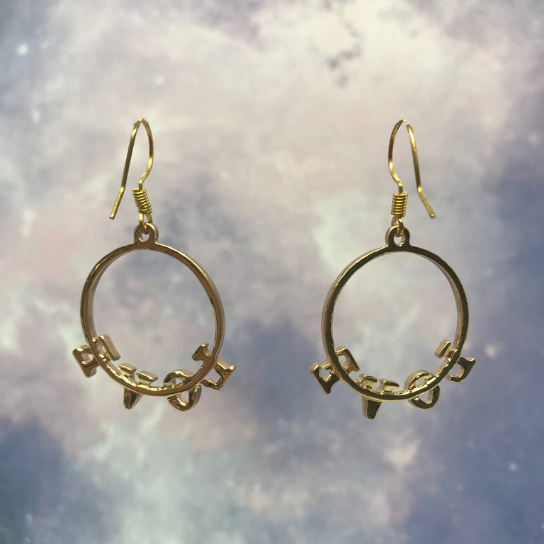"""Love"" Text Circle Gold Earrings"