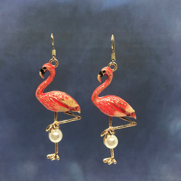 80's Pink Flamingos Gold Earrings