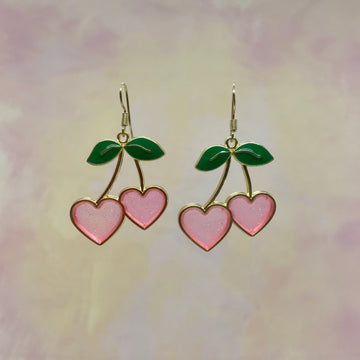 Glitter Pink Cherry Earrings Shaped as Hearts