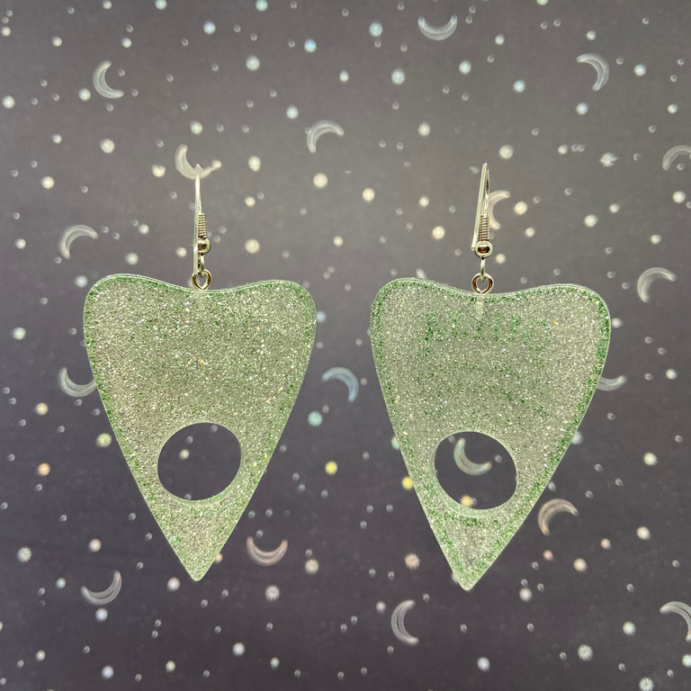 Silver Shimmer Glitter Green Ouija Planchette Earrings