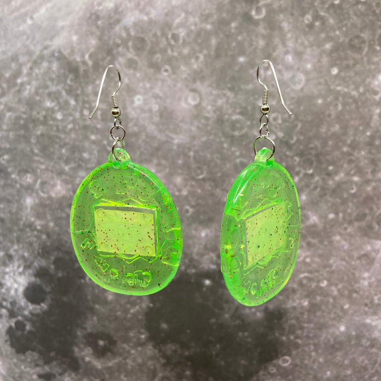 Vintage Neon Green Tamagotchi Earrings with Red Glitter