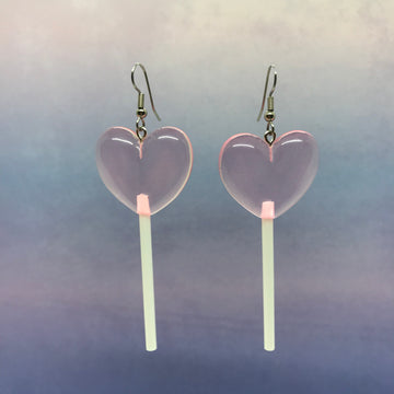Light Pink 3D Heart Lollipops Earrings