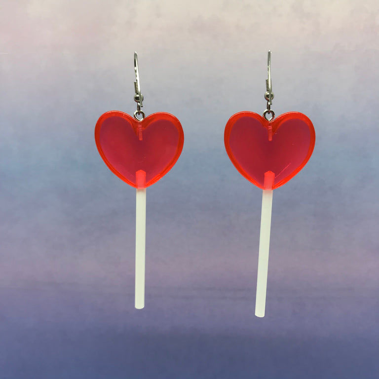 Cherry Red 3D Heart Lollipops
