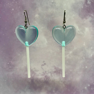 Light Blue 3D Heart Lollipops Earrings