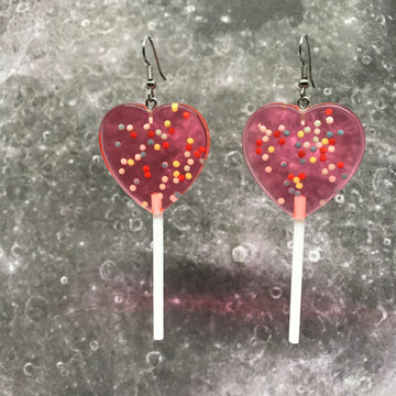 Red Sprinkles XL Heart Lollipops Earrings