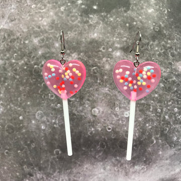 Pink Sprinkles 3D Heart Lollipops Earrings