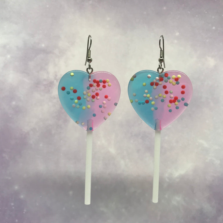 Purple Blue Sprinkles XL Heart Lollipops Earrings