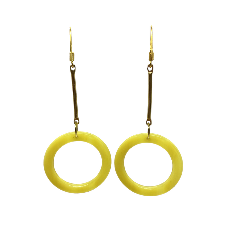 Yellow Honey Resin Vintage Circle Minimalist Earrings