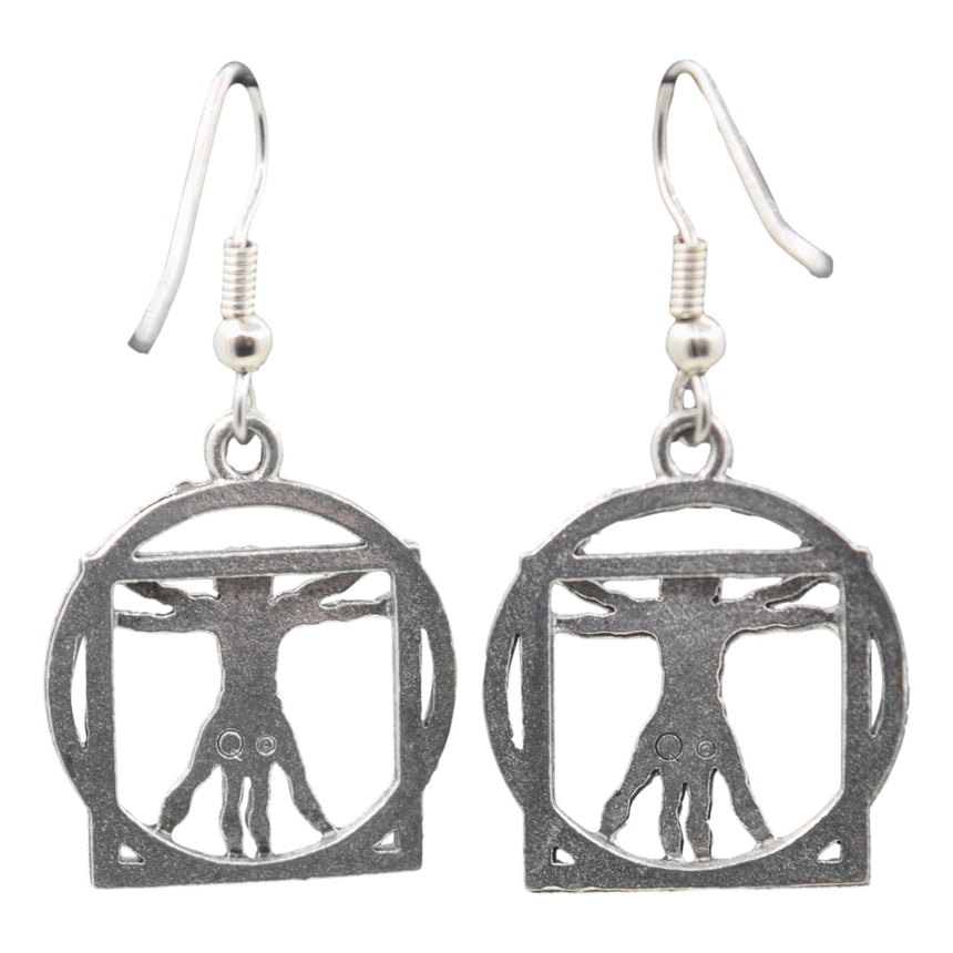 Vintage Vitruvian Man Leonardo da Vinci Silver Earrings