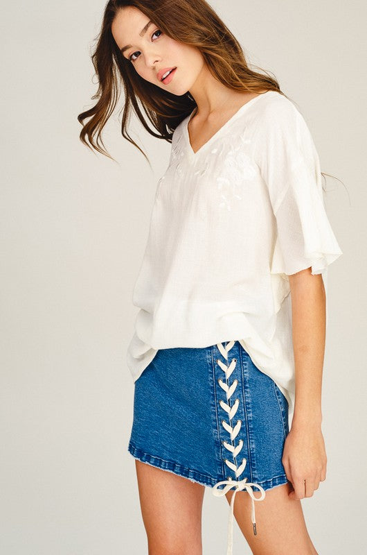 Logan Lace-Down Denim Skirt