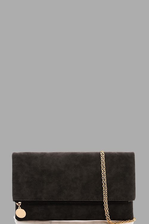 Blake Foldover Clutch + Crossbody Handbag in Dark Gray
