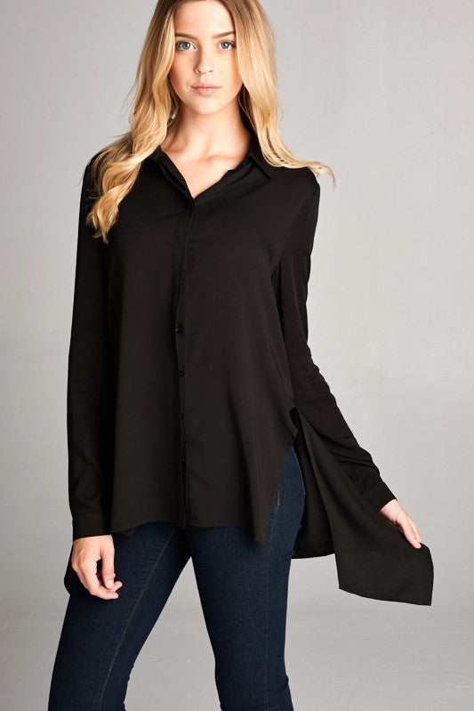 Shayna Button Down Top in Black
