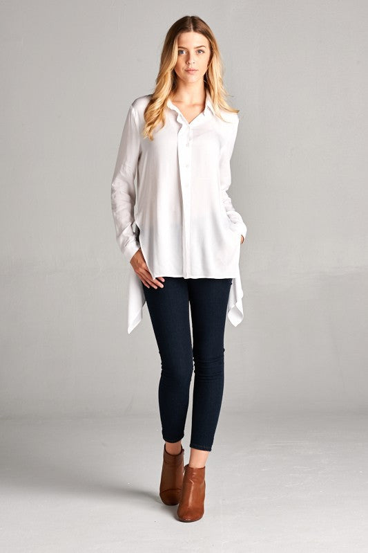 Shayna Button Down Top in White