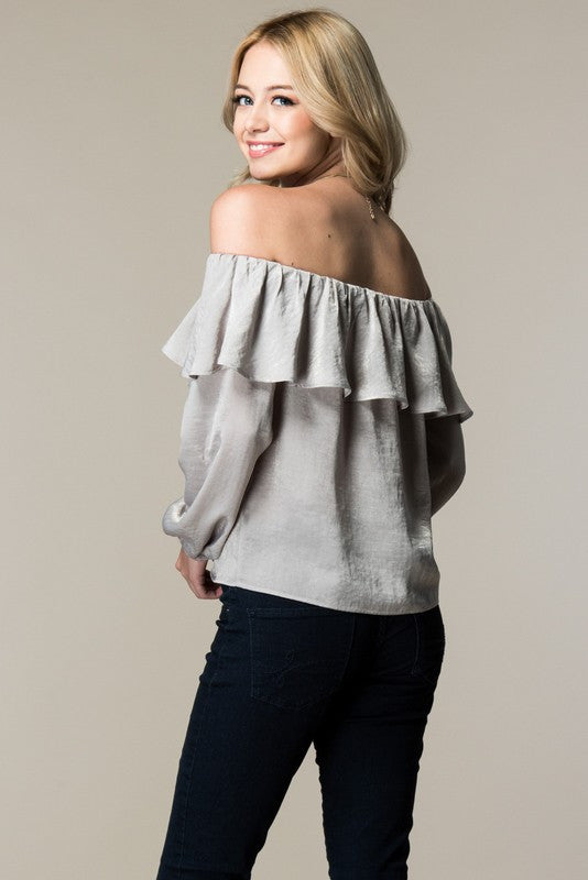 8206f9282131 Birch Off Shoulder Ruffled Top – Silver   Gold Boutique