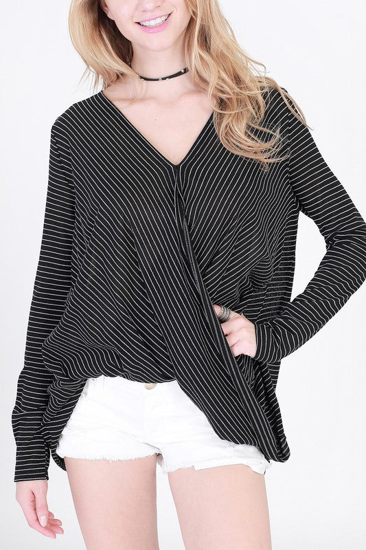 Wednesday Striped Wrap Top