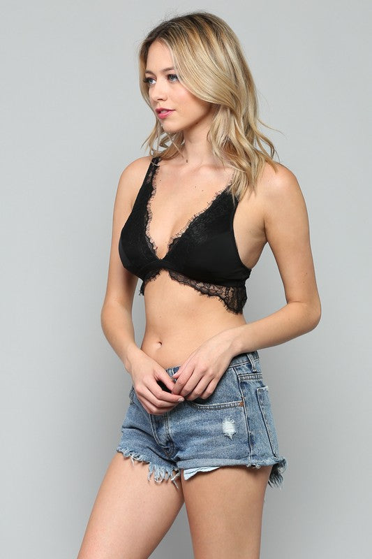 Carolyn V-Neck Lace Trim Bralette