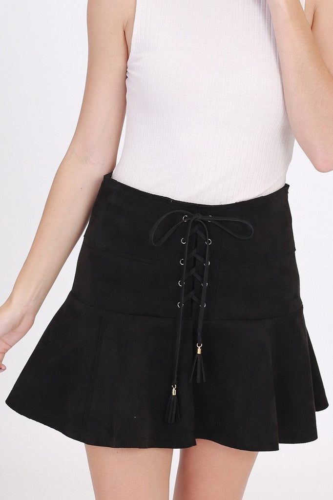 Fae Faux Suede Lace-Up Mini Skirt