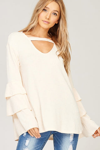 Celeste Ruffle Blouse in Dusty Rose