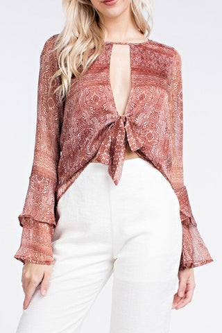 Lydia Chiffon Panel Sweater in Cream