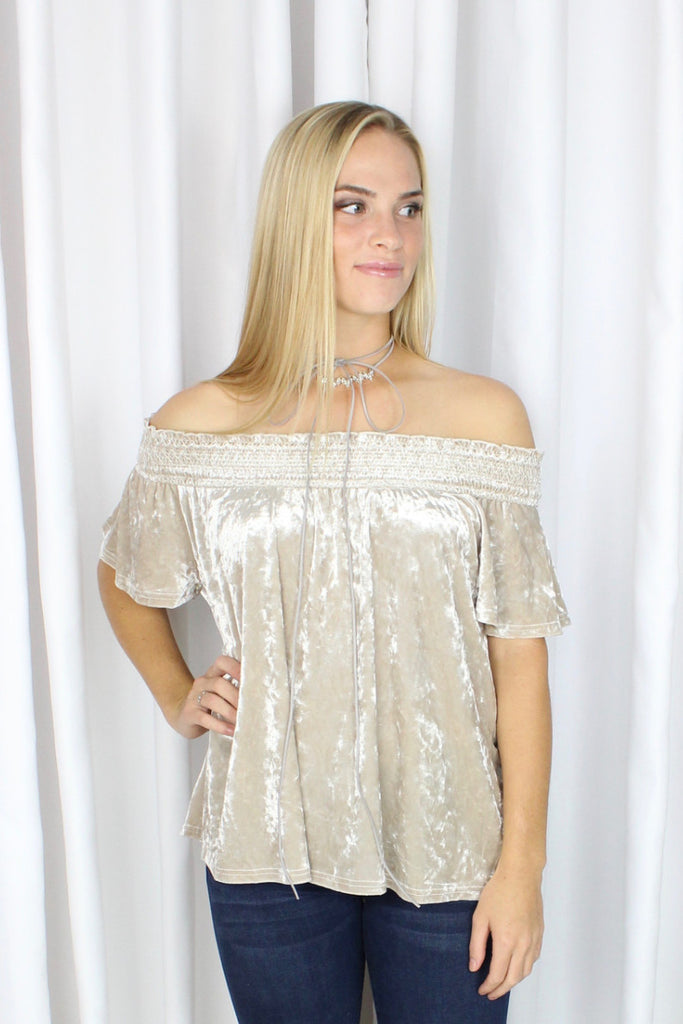 Holly Smocked Off Shoulder Top in Silver