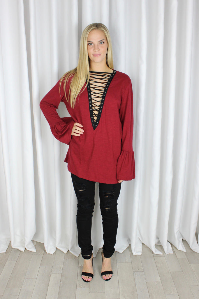Lovesick Lace-Up Tunic in Burgundy