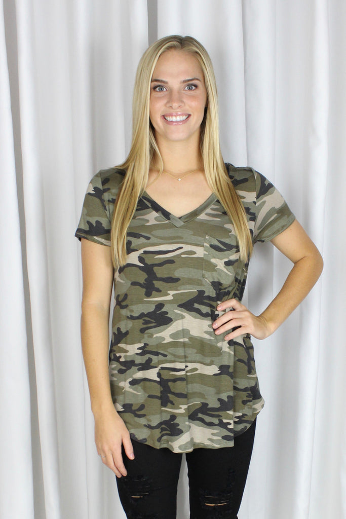 Yvonne V-Neck Top in Camo