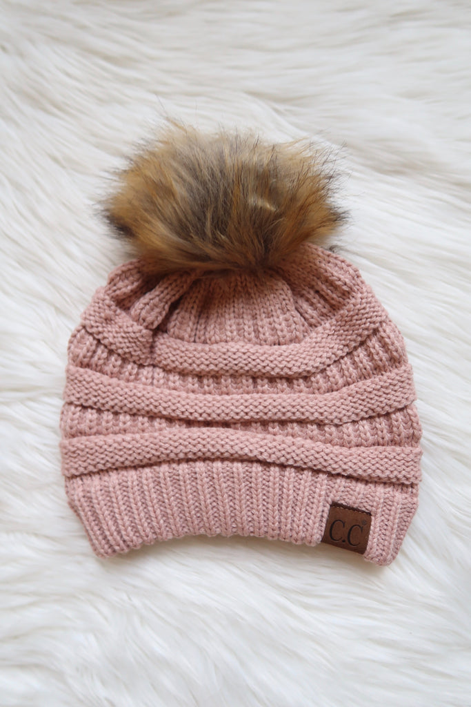 Indi Pink Knit Beanie with Pom