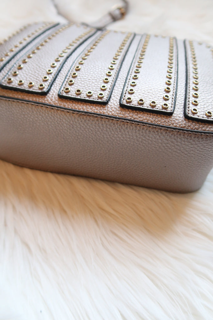 Alessia Studded Crossbody in Metallic Pewter