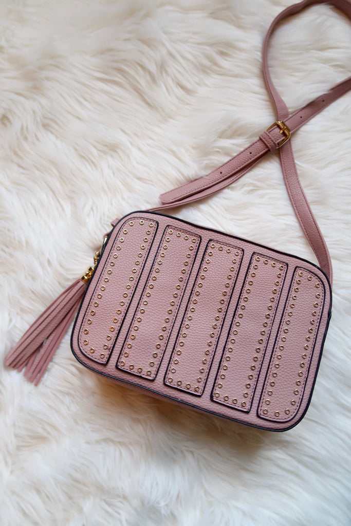 Alessia Studded Crossbody in Matte Pink