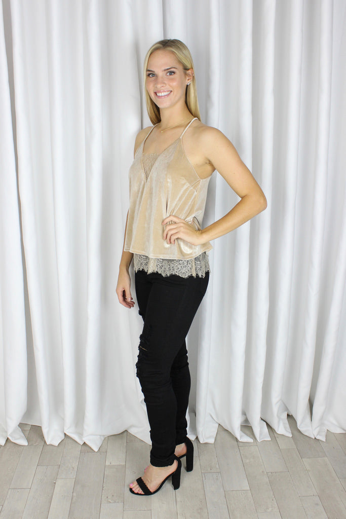 Lace Embrace Tank in Nude Velvet