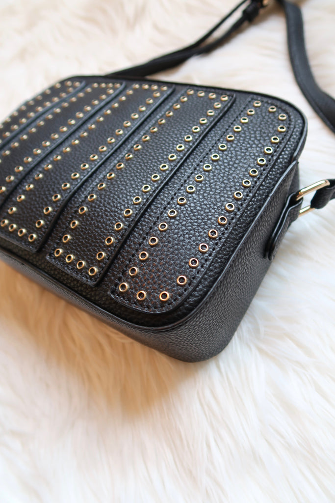 Alessia Studded Crossbody in Black