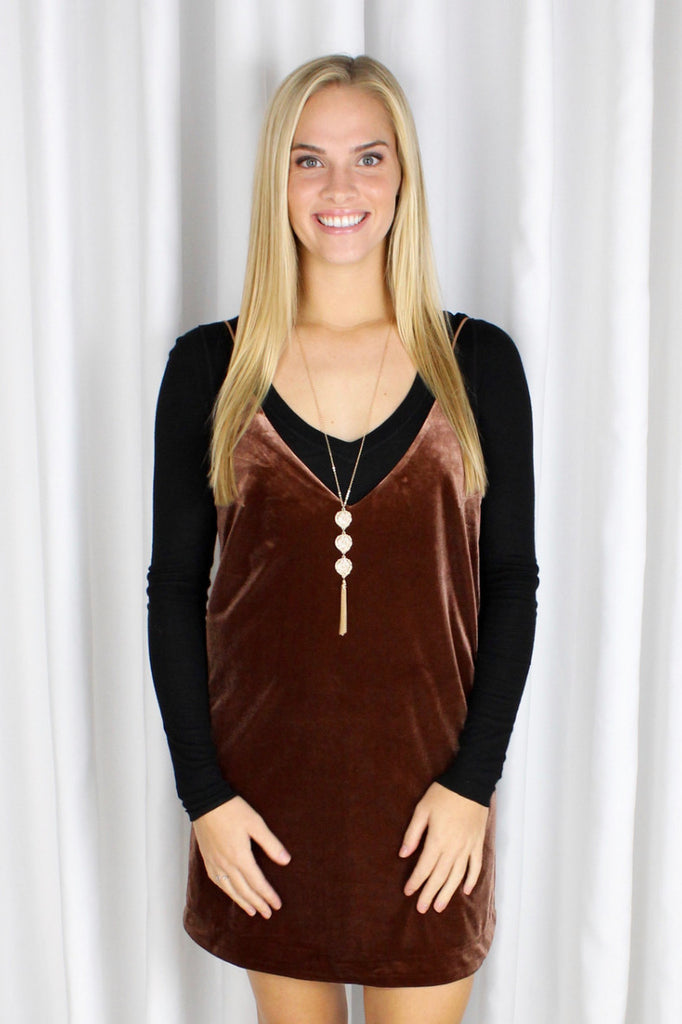 Heartbreaker Velvet Slip Dress in Sable