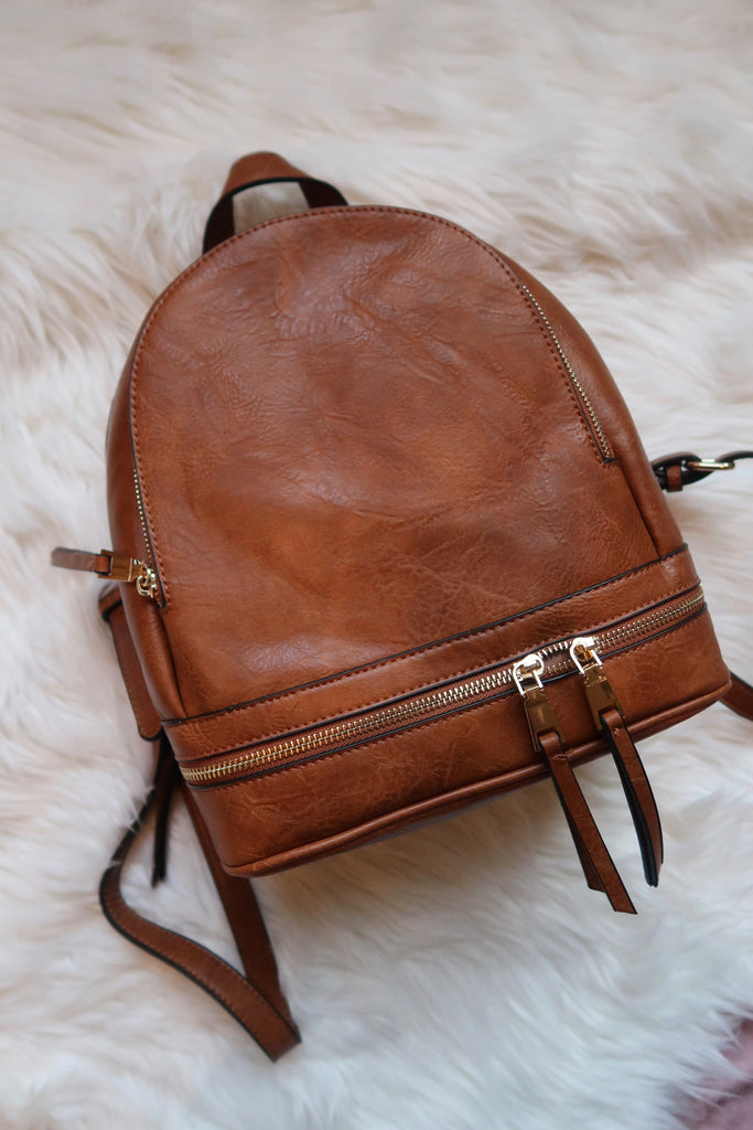 Barcelona Vegan Leather Backpack in Mahogany