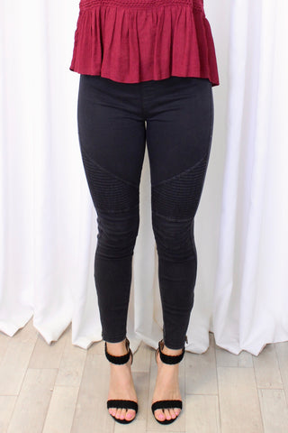 Devyn Denim Moto Leggings in Wine