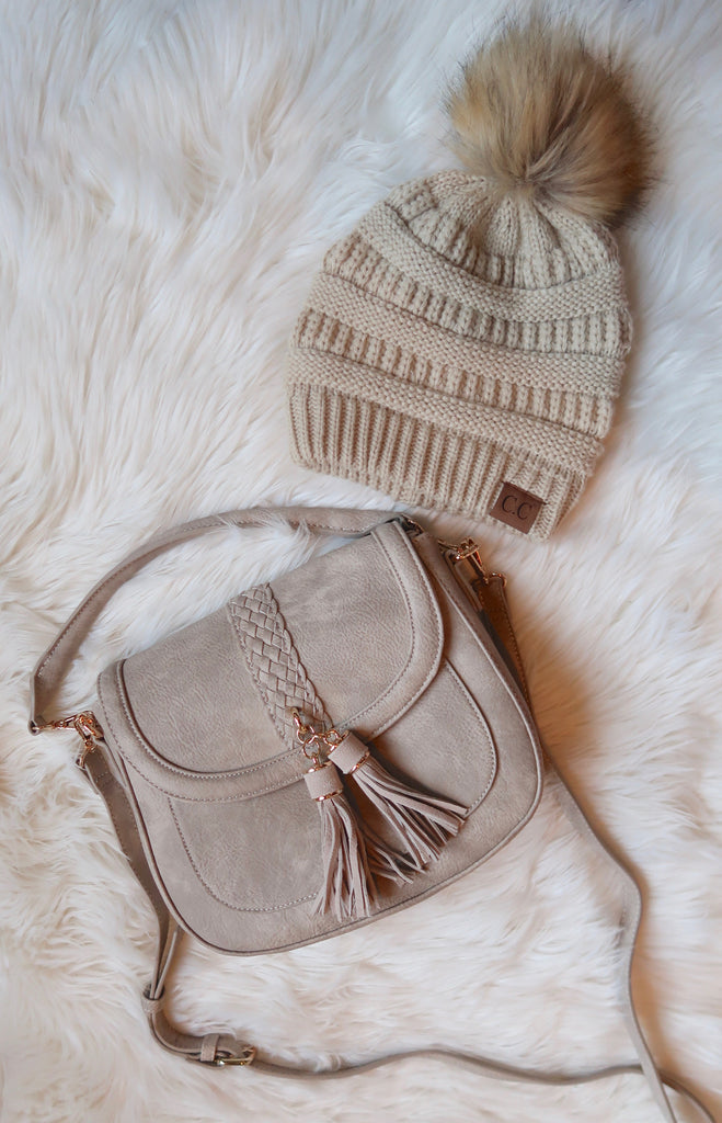 Beige Knit Beanie with Pom