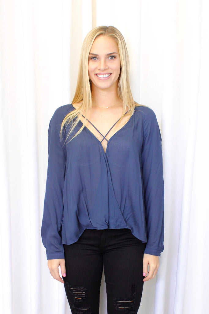 Pam Criss-Cross Top in Navy