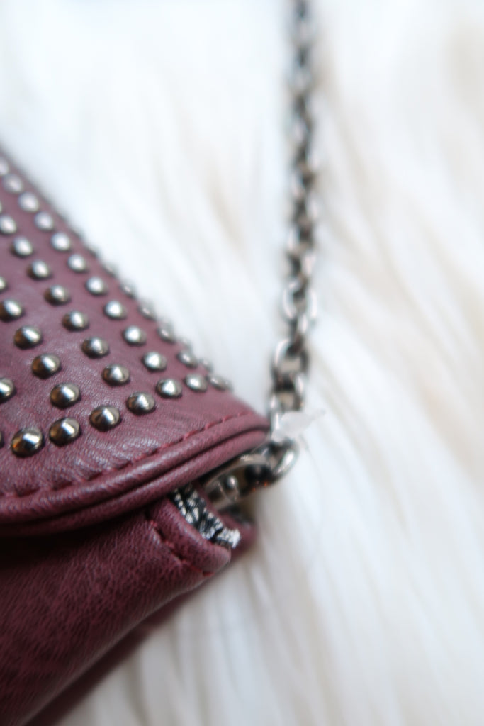 Backstage Babe Studded Crossbody in Wine