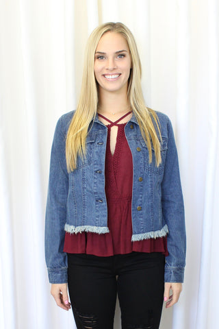 Open-Front Cardigan with Lace Trim
