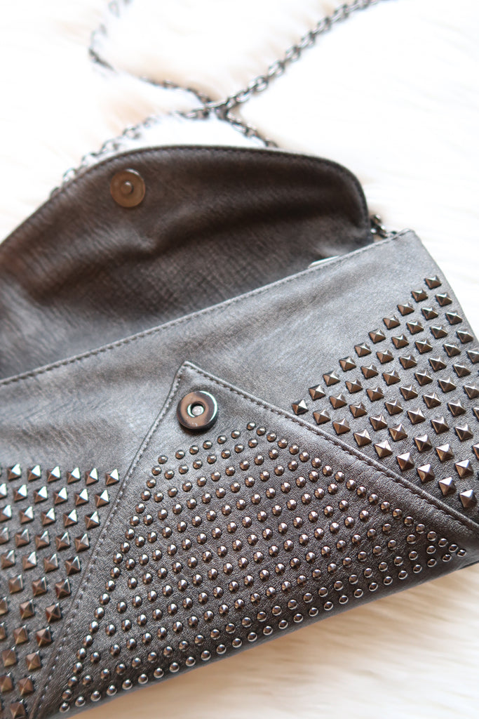 Backstage Babe Studded Crossbody in Pewter