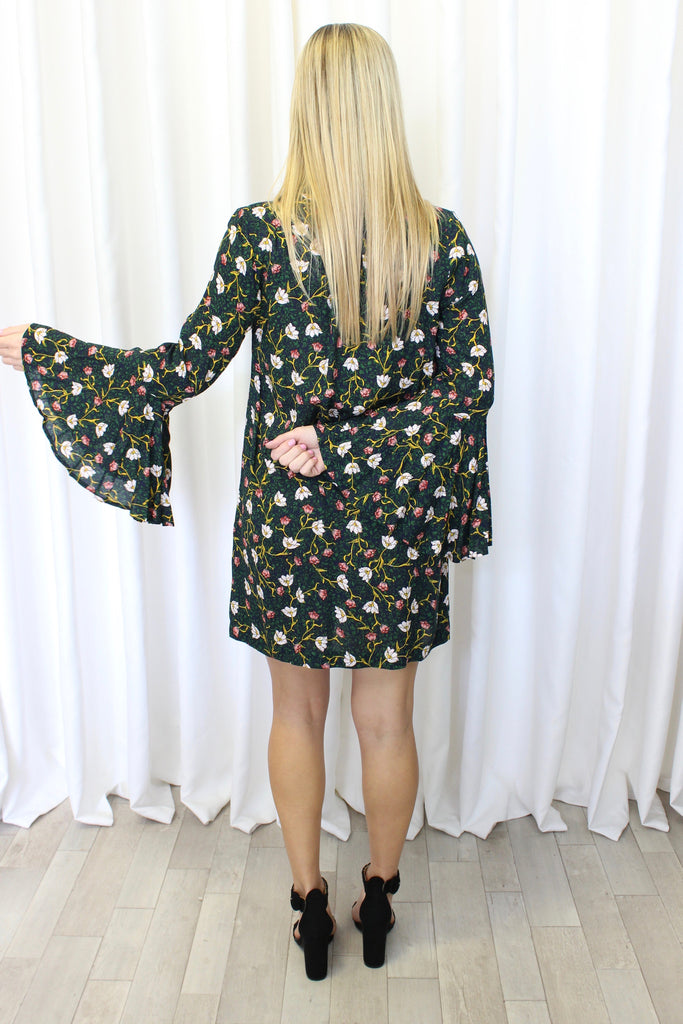 Francesca Floral Bell Sleeve Dress