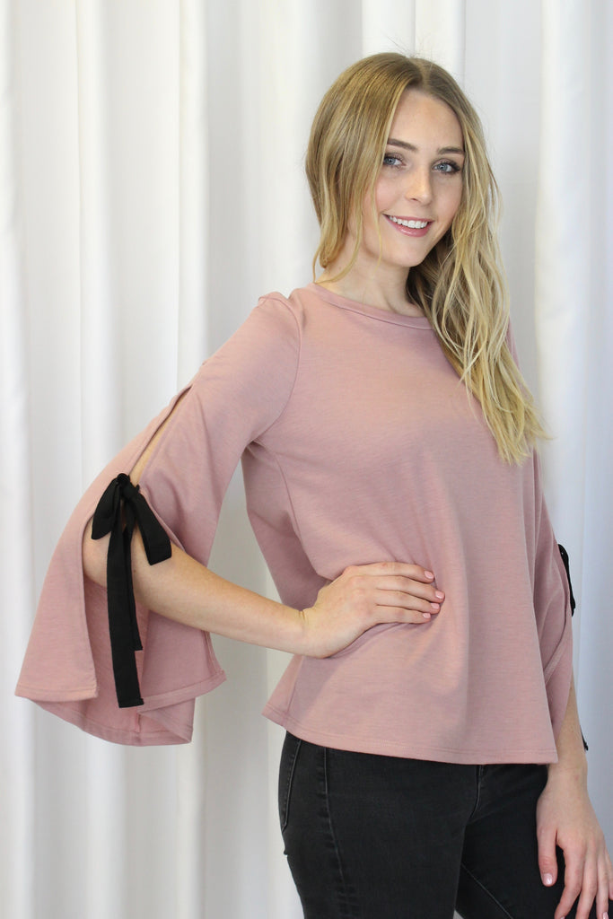 Bellamy Bow Sleeve Knit Top in Dusty Mauve