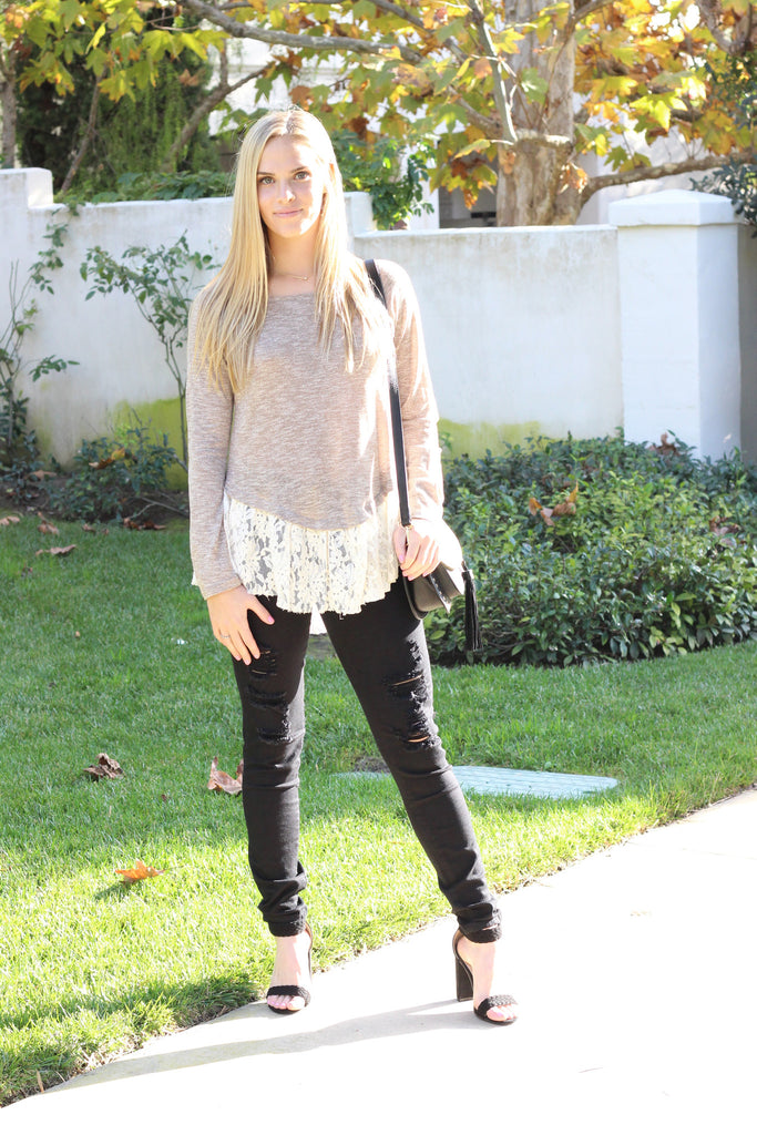 V-Cute Sweater with Lace Peplum