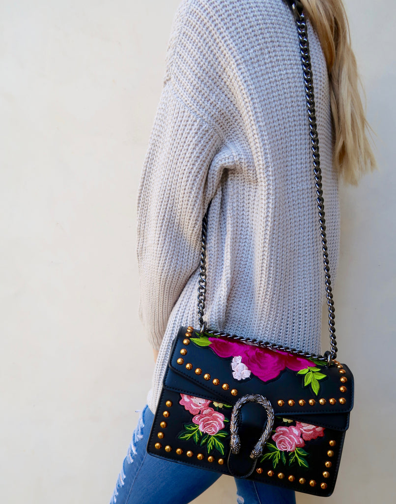 Giselle Floral Embroidered Crossbody Handbag