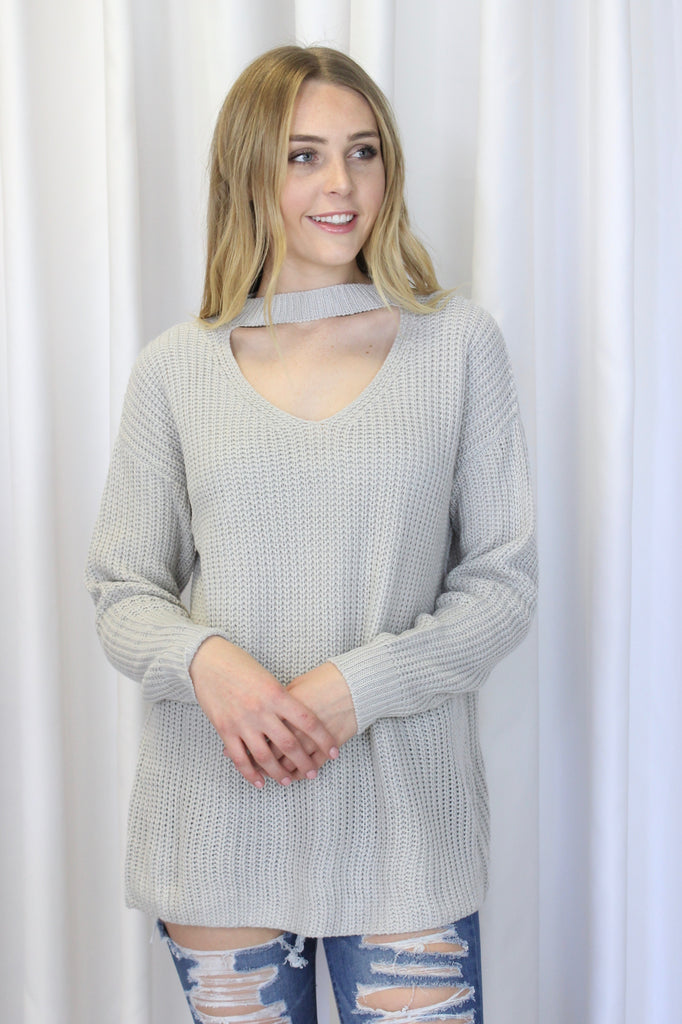 Arden Choker Neck Sweater in Ice