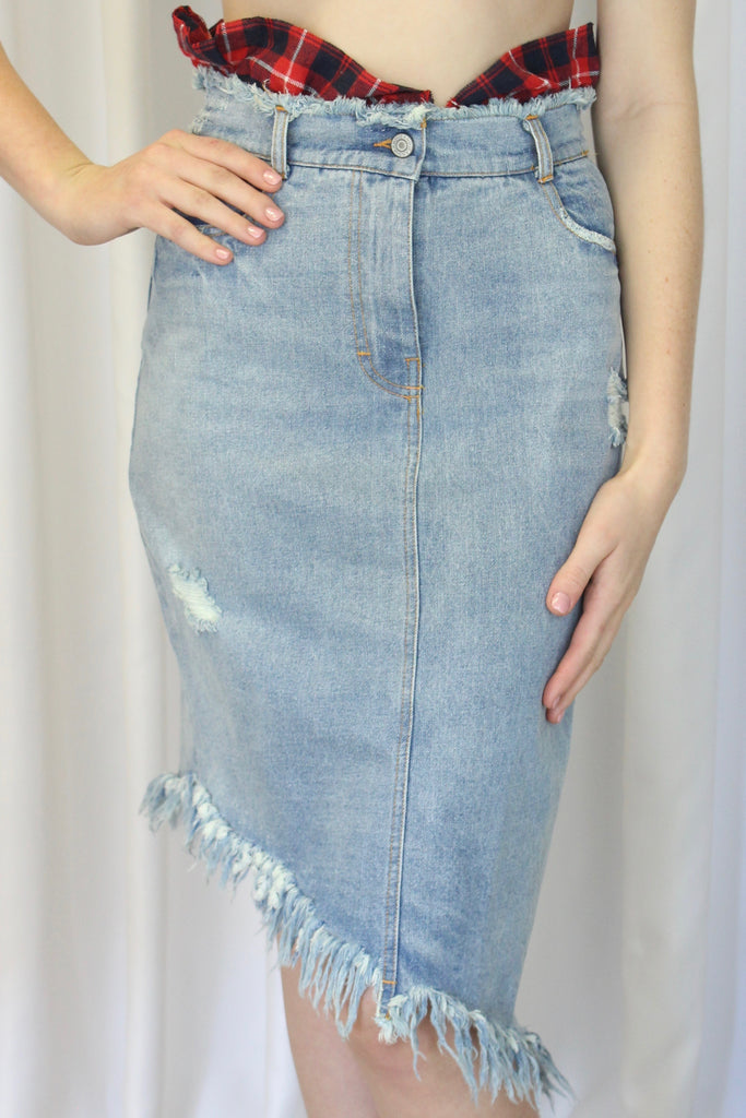 Sabrina Denim Skirt with Detachable Waist Detail