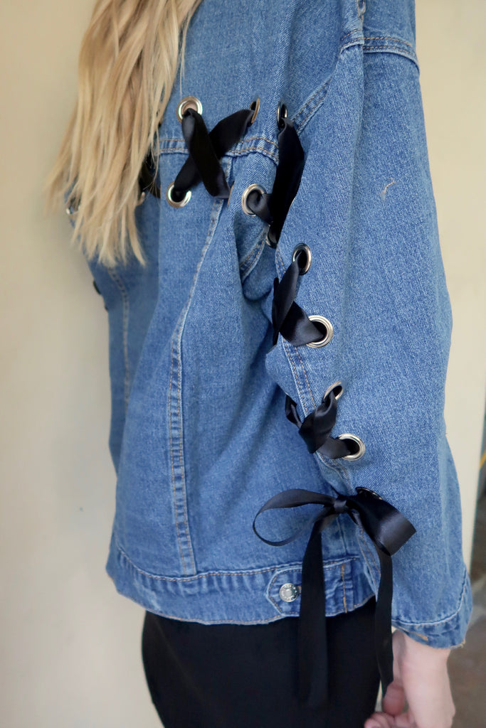 Giovanna Criss-Cross Lace-Up Denim Jacket
