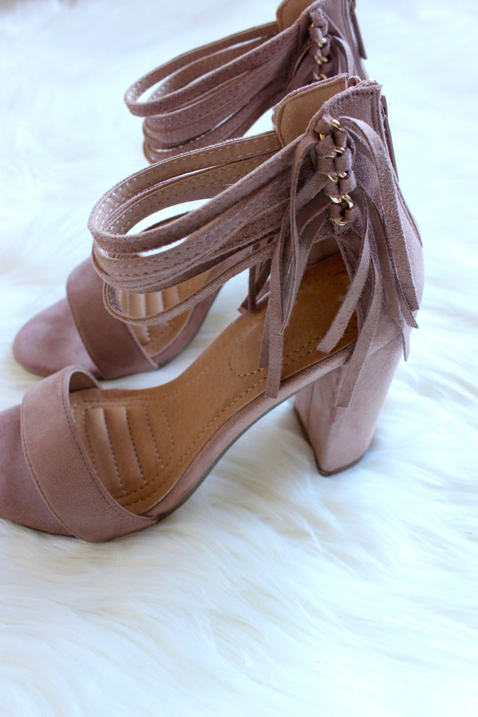 On the Fringe Heels in Blush