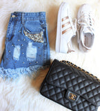 Audrey Pearl Embellished Shorts