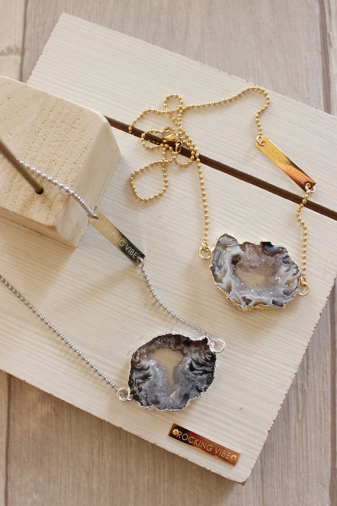 INFERNO Crystalline Raw Agate Slice Necklace