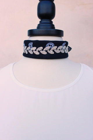 Wanted Crystal Embellished Bandana in White